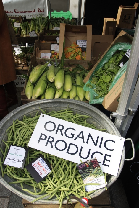 organic vegetables at market